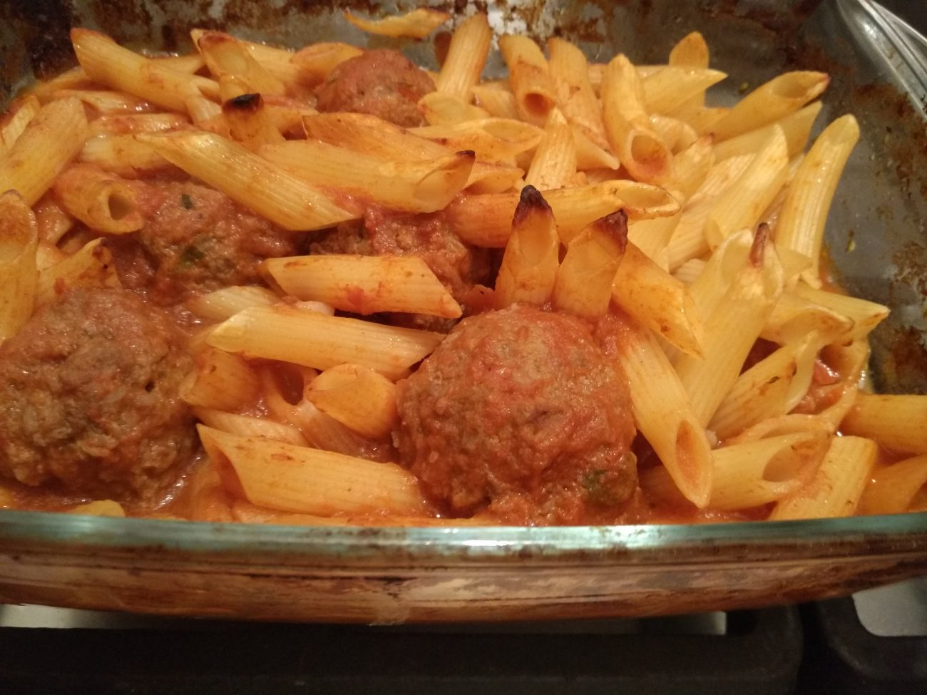 Meatballs with Penne pasta bake
