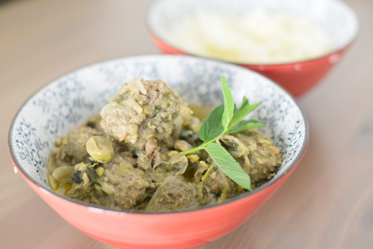 Meatballs and Fava beans in Green herb sauce