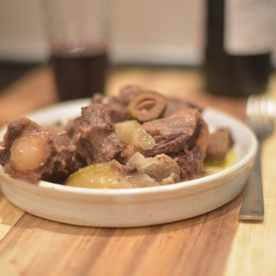 oxtail and green almonds stew